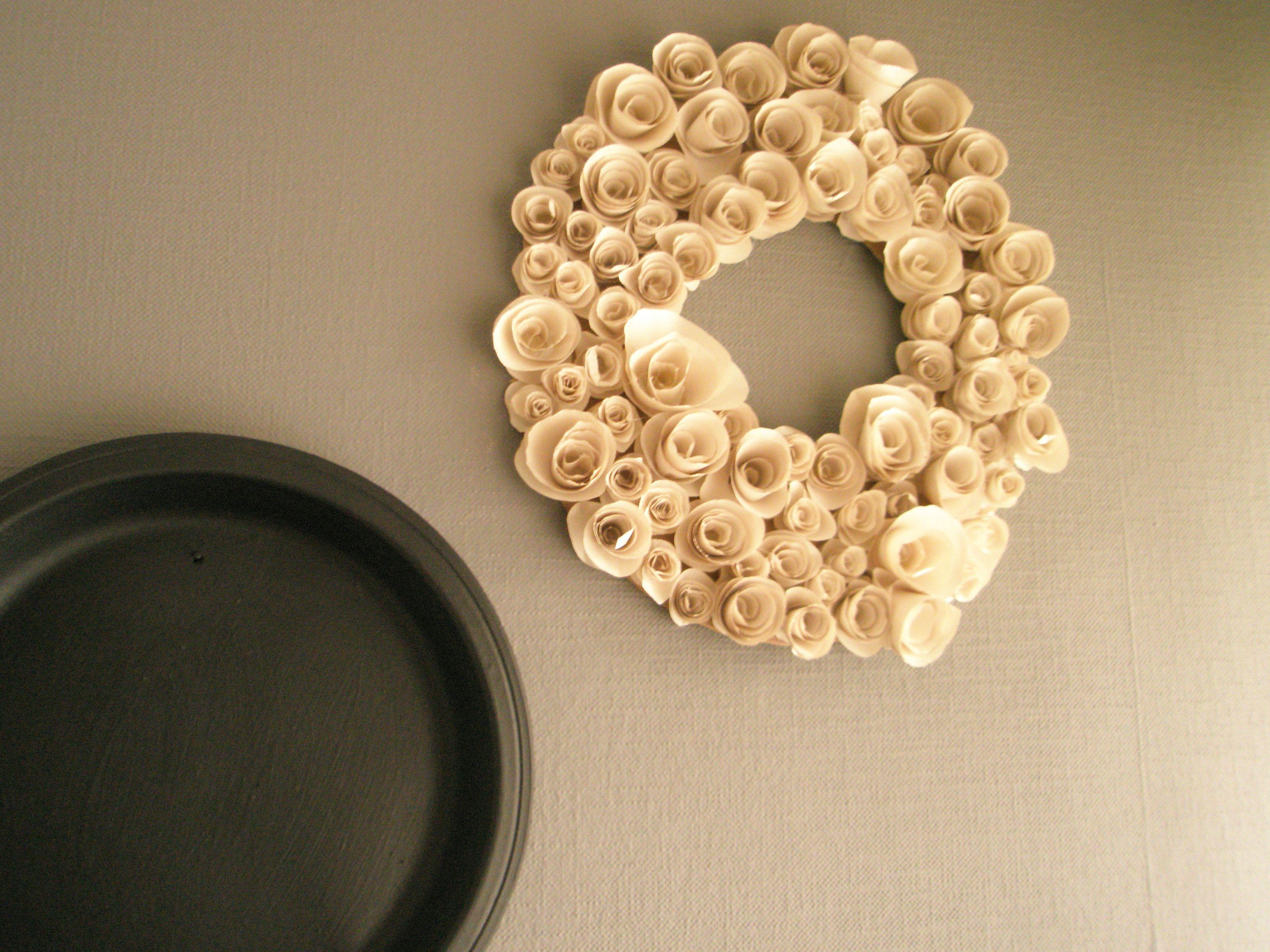 paper flower diy door wreath