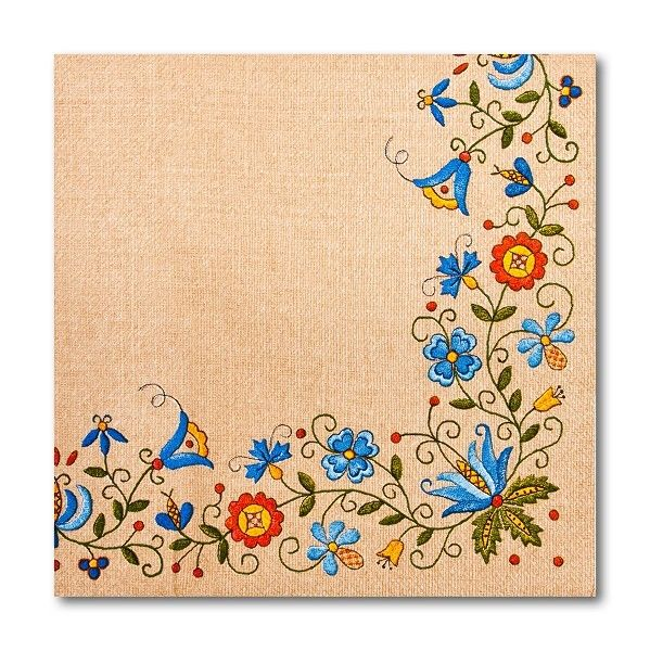 Colourful, three-layer FOLK napkins will make the look of your table lively and bring about joyful atmosphere. Energizing colours of the napkins corresp