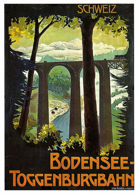 Poster for the Bodensee-Toggenburg Railway from History Swiss Poster Art by Alki1, via Flickr