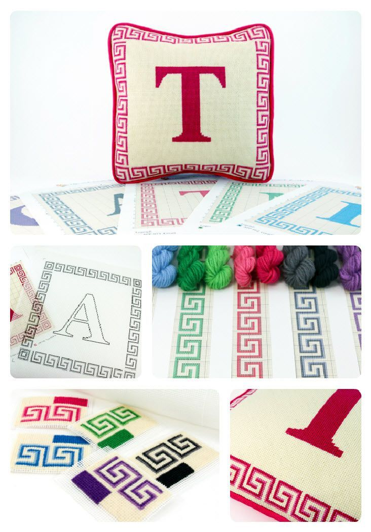 Initial custom needlepoint kits, Tapestry pillow with letter, Monogram custom kit, Hand-painted canvas, Greek key border, Five colors, 13x13#13x13 #border #canvas #colors #custom #greek #handpainted #initial #key #kit #kits #letter #monogram #needlepoint #pillow #tapestry