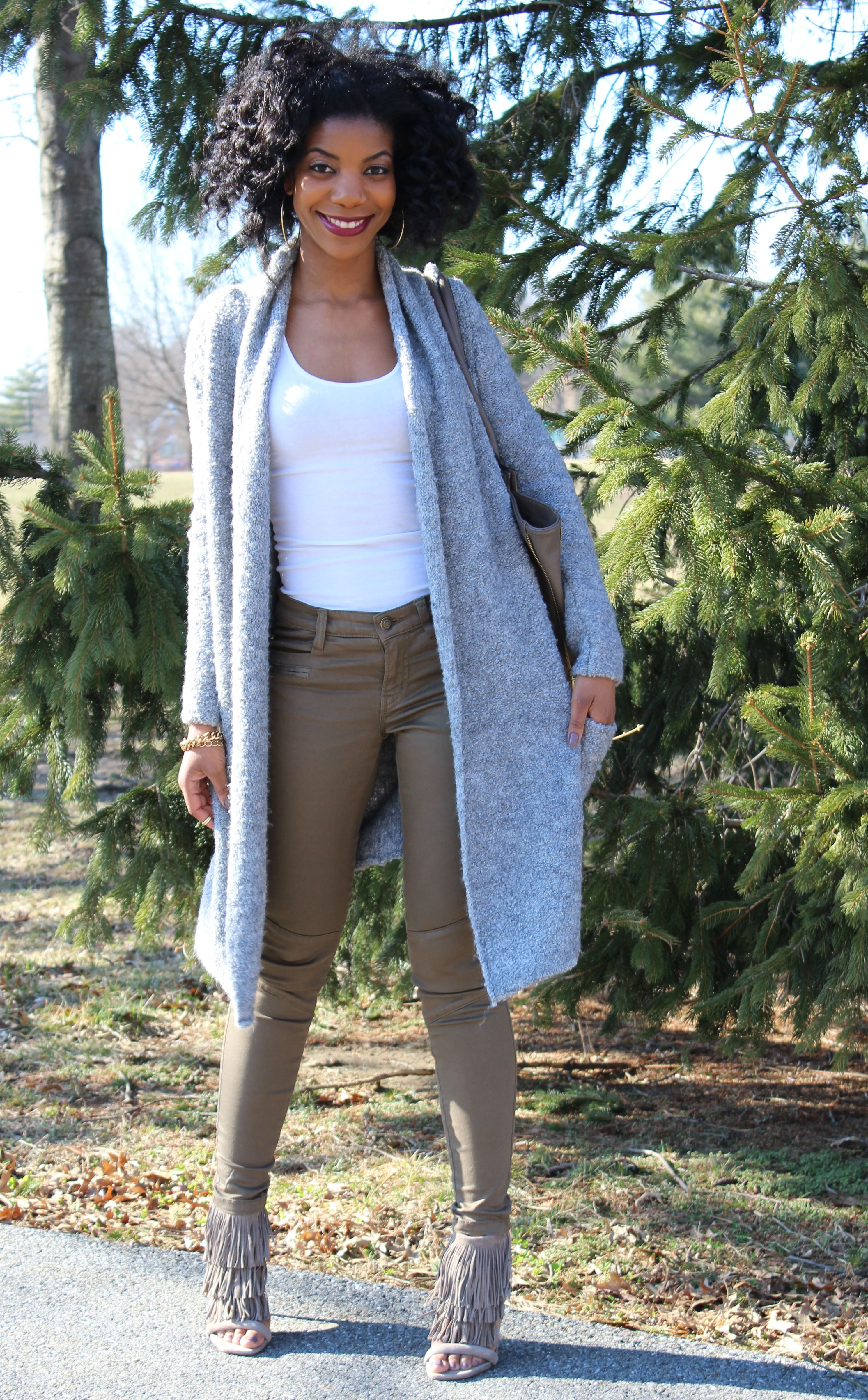 white tank top, olive cargo pants, long line gray cardigan, fringe ...