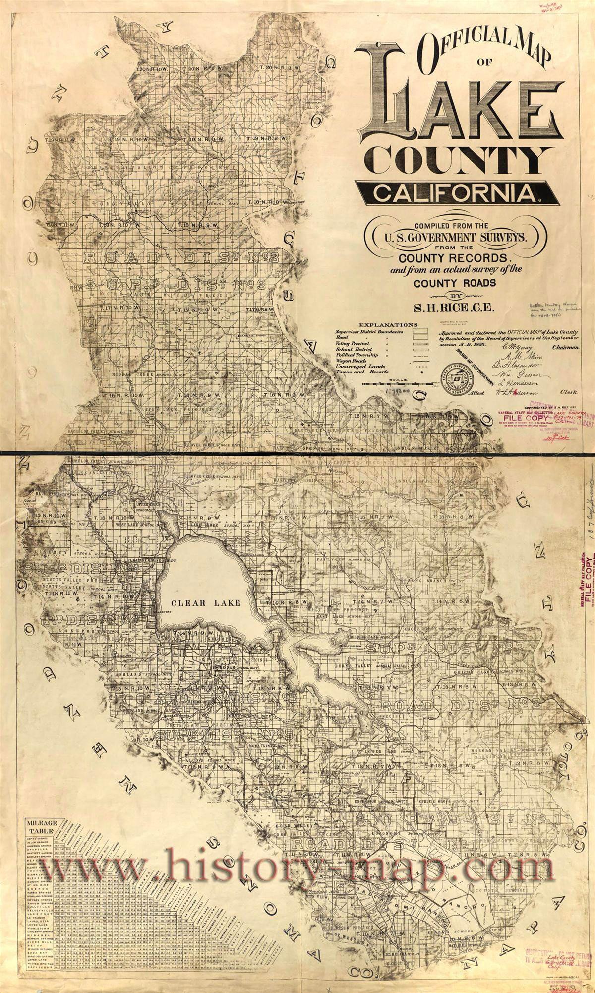 Historic Map Of Lake County California Lakeport California