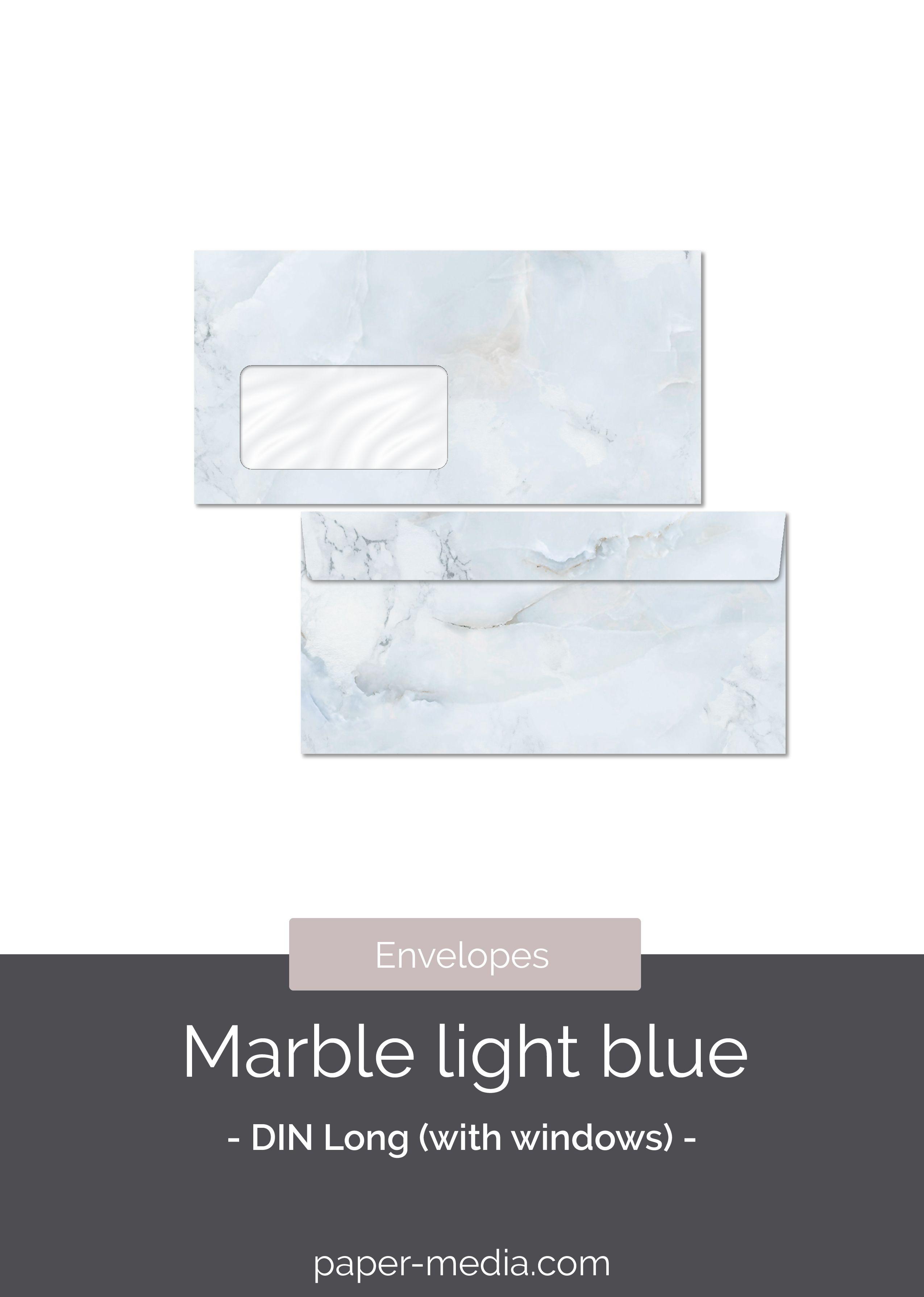 10 Patterned Envelopes Marble Light Blue In Standard Din Long Format With Windows In 2020 Schreibwaren Umschlage Briefpapier