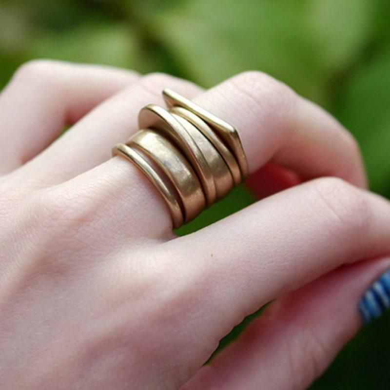 Modern Simple 6 Piece Chunky Matte Gold or Silver Finger Knuckle Ring Set