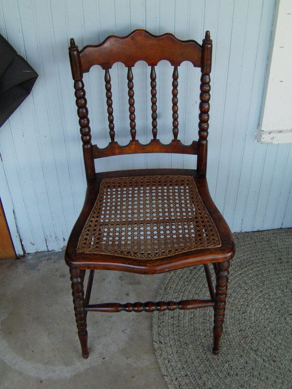 Antique Wooden Chair With A Cane Seat By AddiesArtsyAttic On Etsy, $90.00