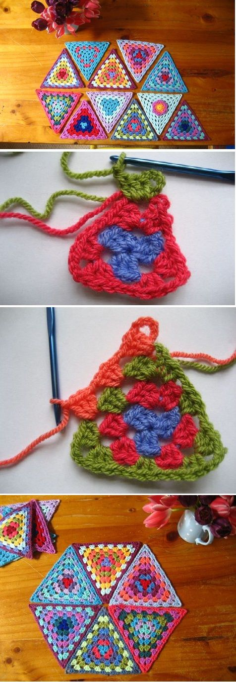 Balón Crochet Granny Triangles | abuelos | Pinterest | Carpetas ...