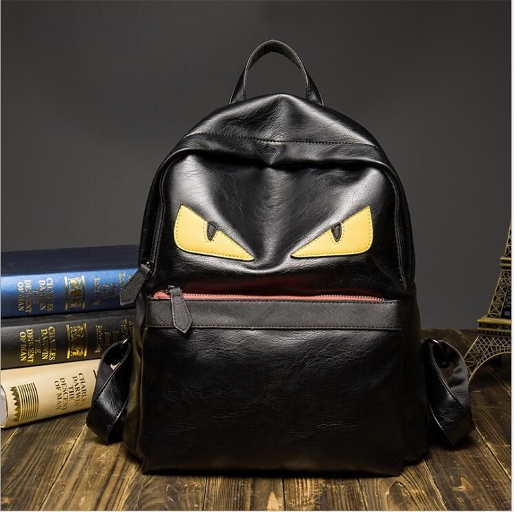 Black Cartoon Monster Eyes Backpack With Fur Cute Travel Bag For Teenagers  001 3f29c44e048a4