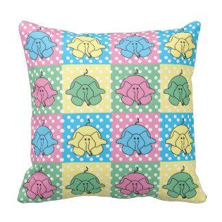 Polka Dot Funny Pastel Silly Elephants Pillow