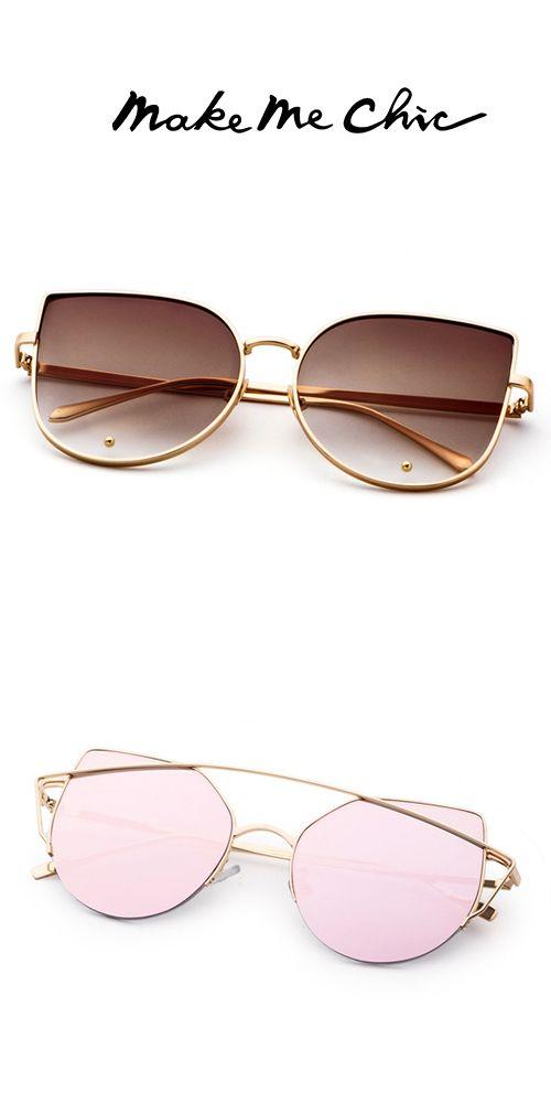 57f2b007d6 Gold Frame Brown Cat Eye Stylish Sunglasses