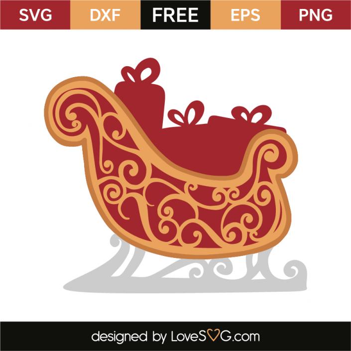 Santa's sleigh Clear christmas ornaments, Christmas svg