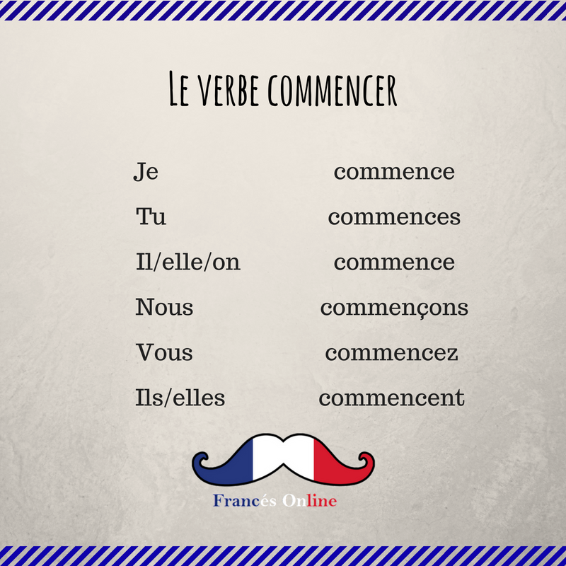 Le Verbe Commencer Learn French French Phrases French Vocabulary