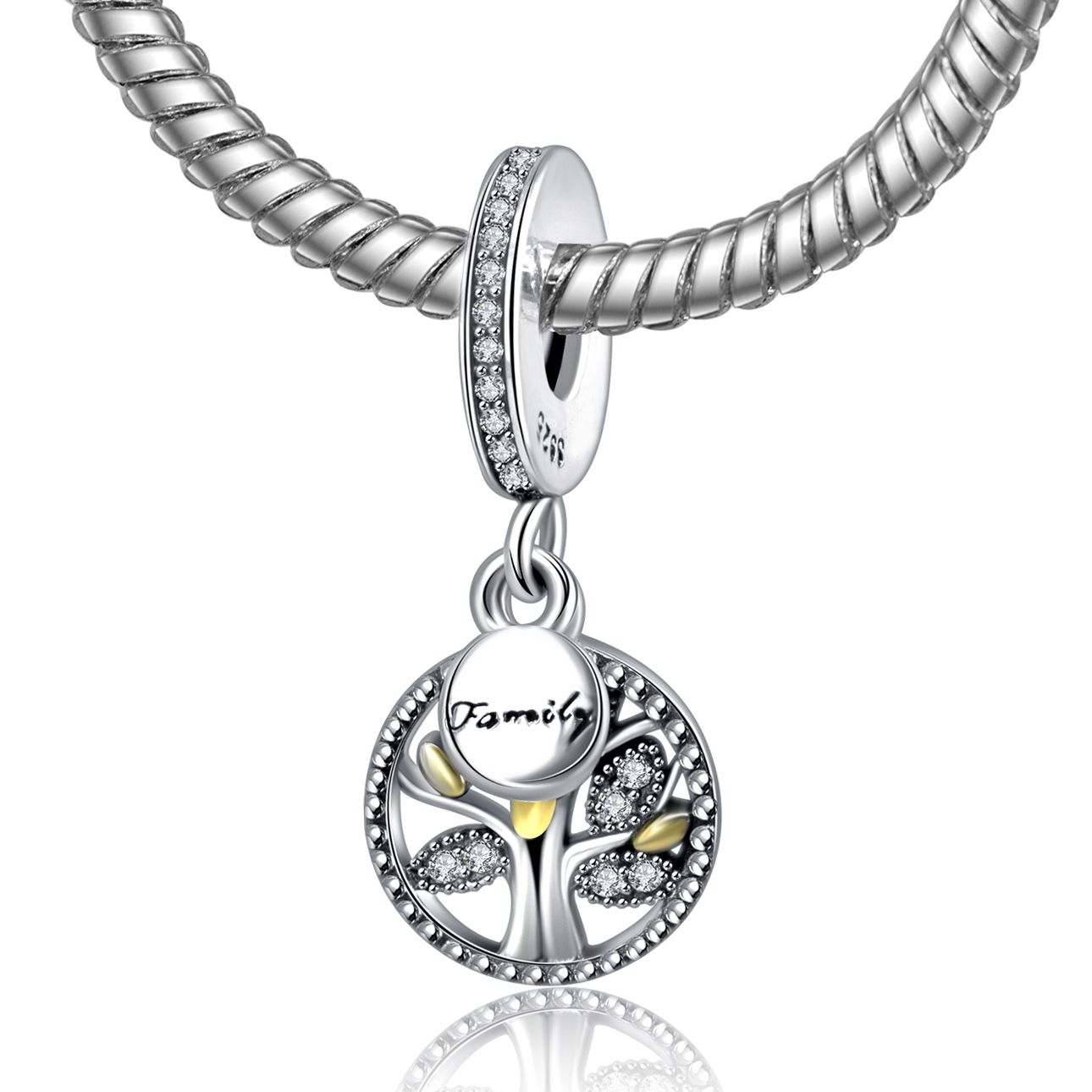 Luxury 925 Sterling Silver Family Tree With Gold Color Cubic Zirconia Pendant Charm Fit Pandora B With Images Pandora Bracelet Charms Sterling Silver Bead Pandora Bracelet
