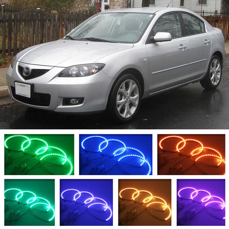 For Mazda 3 2003 2004 2005 2006 2007 2008 2009 Rgb Led Headlight Rings Halo Angel Demon Eyes With Remote Controller Led Headlights Demon Eyes Car Lights