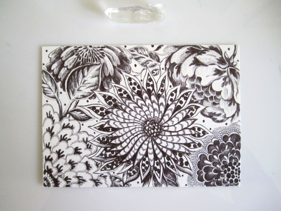 Black And White Flowers Pen And Ink Drawing Original