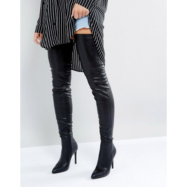 ff7ce9271c4b5 Steve Madden Kristen Over The Knee Boots (275 CAD) ❤ liked on Polyvore  featuring shoes, boots, black, black boots, black over-the-knee boots, over -the-knee ...
