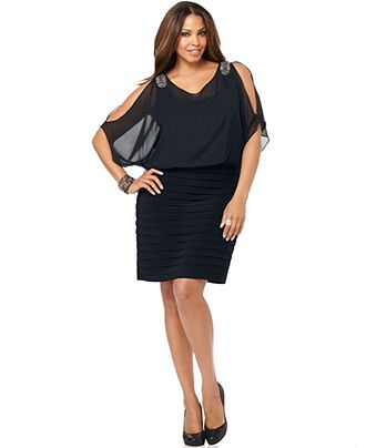 Xscape Plus Size Dress, Short Split Sleeve Pleated Beaded Blouson ...