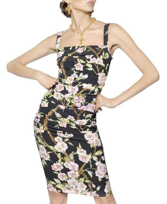 Flower Print Bodycon Black Cami Dress