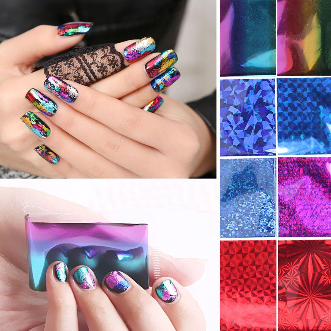 HOP 20PCS 4x20cm Mix Color Transfer Foil Nail Art Star