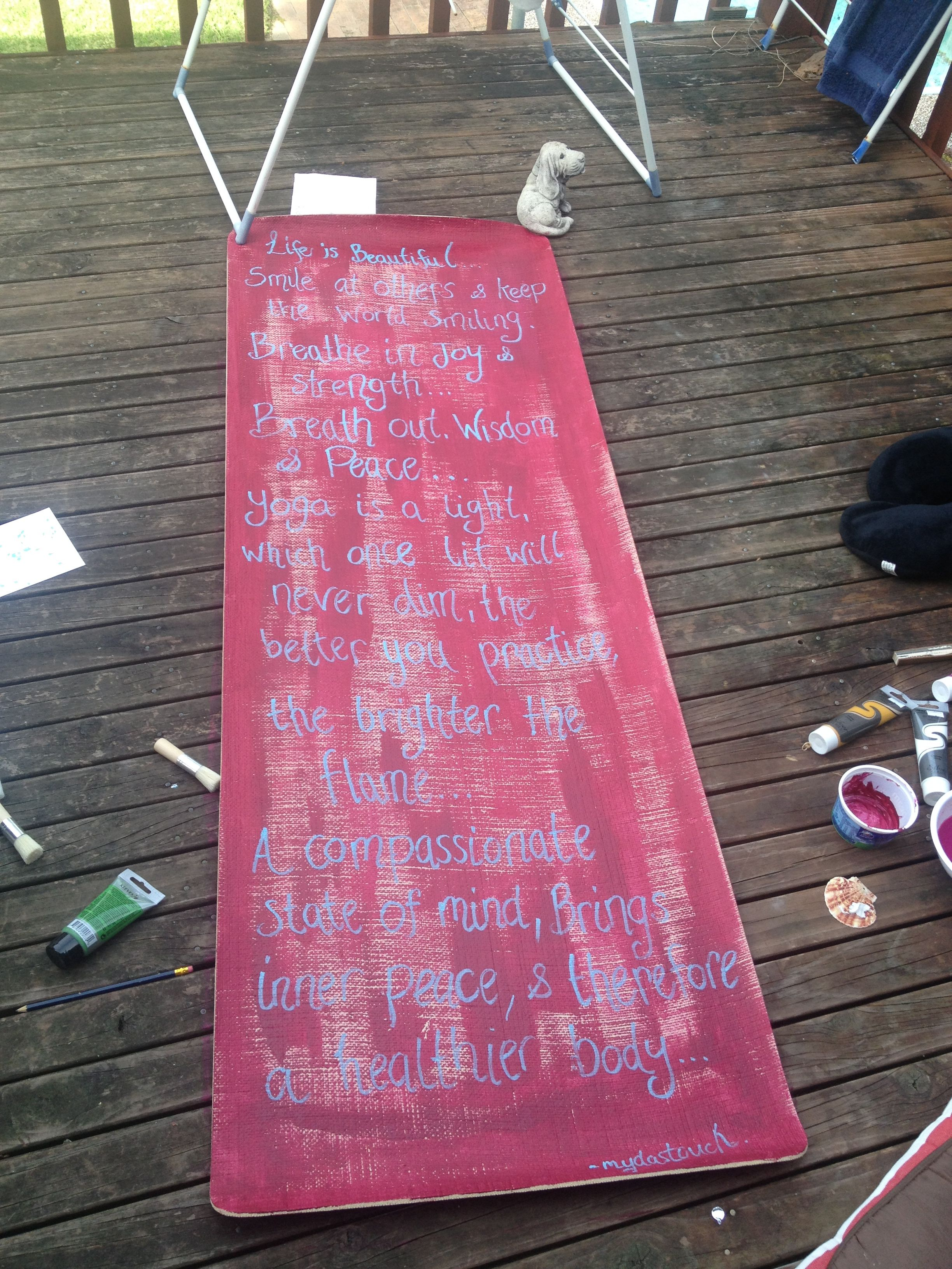 inspirational artwork on a yoga mat!