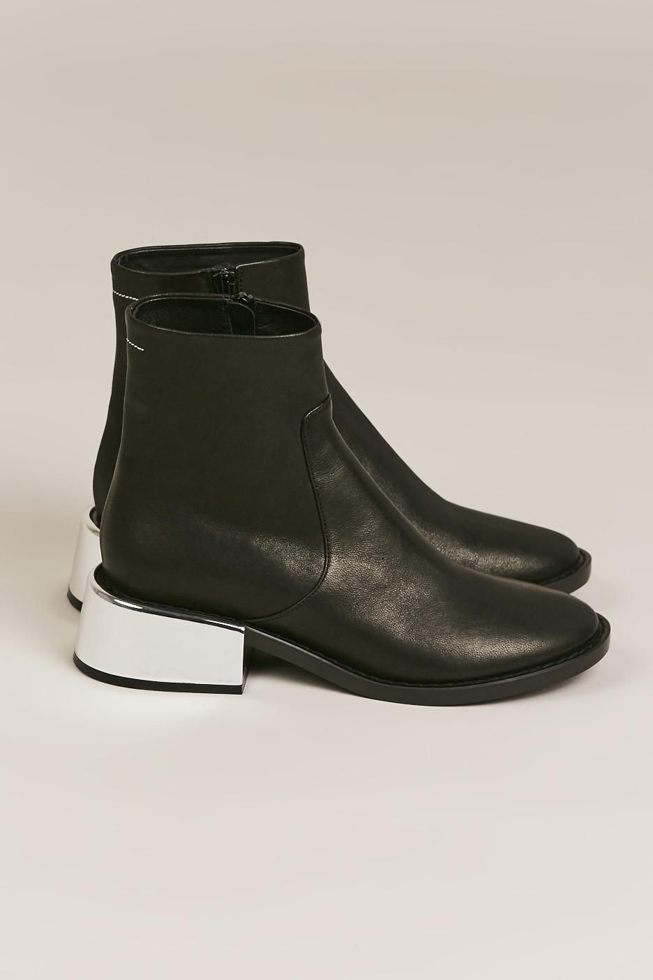 c9fd46abe48 SHORT BOOT WITH SILVER HEEL, BLACK BY MM6 BY MAISON MARTIN MARGIELA ...