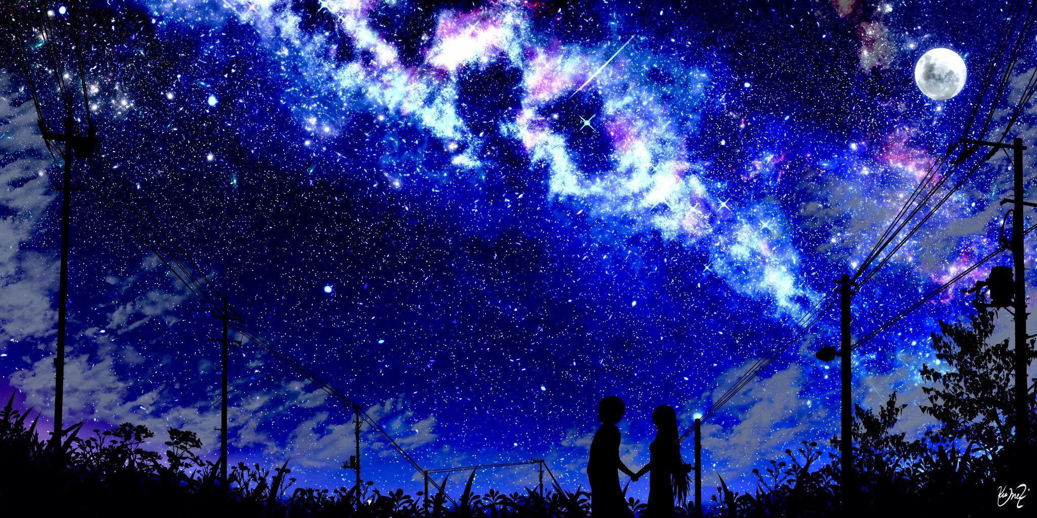 Anime sky stars wallpaper