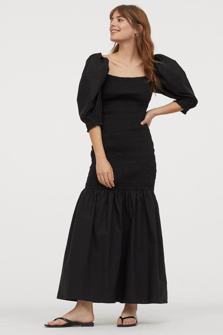 Gesmoktes Baumwollkleid Schwarz Ladies H M De Cotton Dresses Casual Summer Dresses Black Dress [ 1152 x 768 Pixel ]