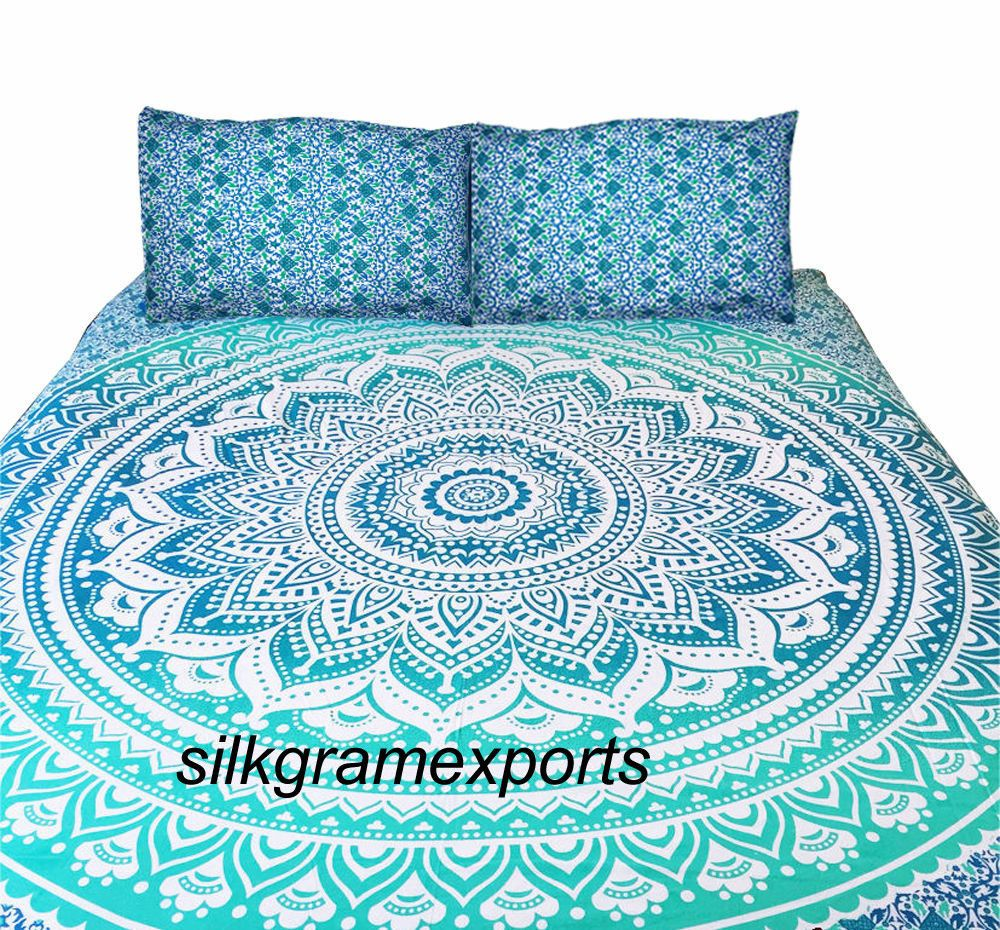 Pillow cover Ombre Mandala Bed Cover Hippie Tapestry Indian Queen Bed Sheet Set