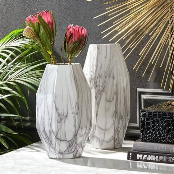 Modern Art Flowers In Clear Vase Burkes