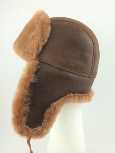29456ed13 Russian Ushanka Genuine Shearling Sheepskin Fur Hat - Zavelio ...