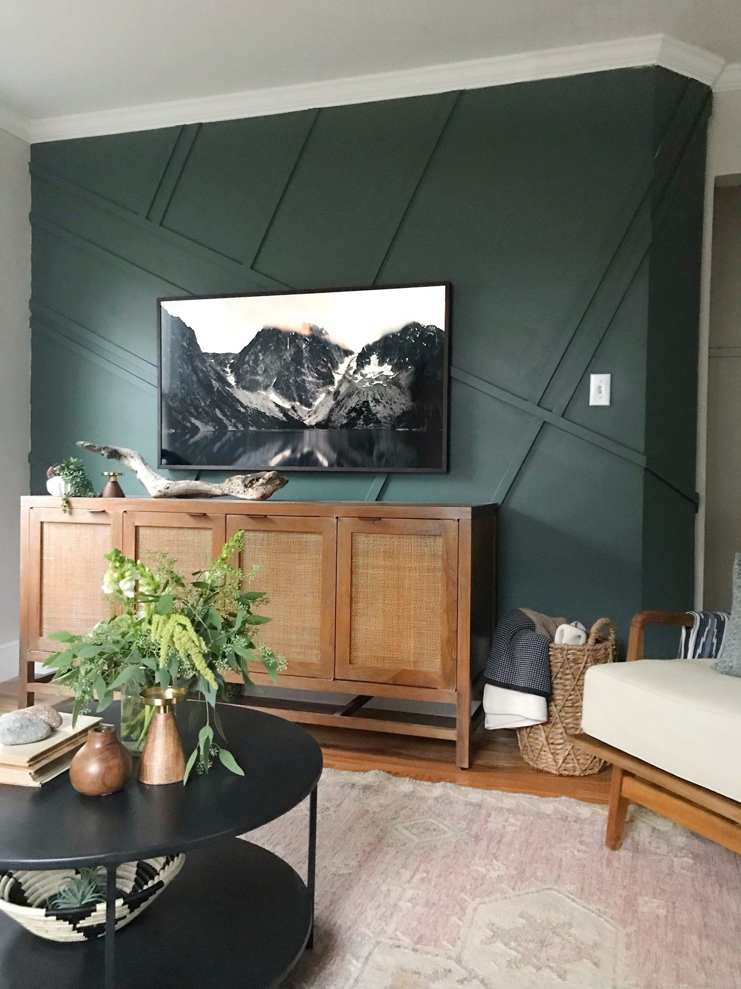 Living Room Redesign Reveal Pacific Cape Home Dark Green Living Room Decor Mi Green Living Room Decor Green Walls Living Room Accent Walls In Living Room