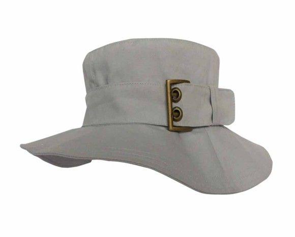 Chapéu em tecido 100% algodão com fivela cor ouro velho Cores  Cinza e caqui 088fcad364c