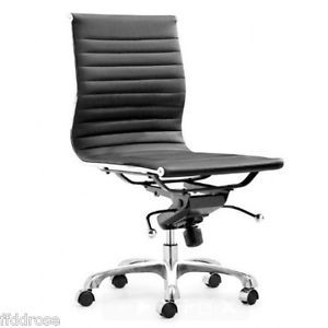 modern armless office chair in black eames style armless office