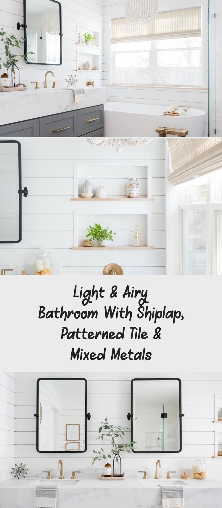 Photo of Light and airy bathroom with shiplap, patterned tiles and mixed metals – bathroom …