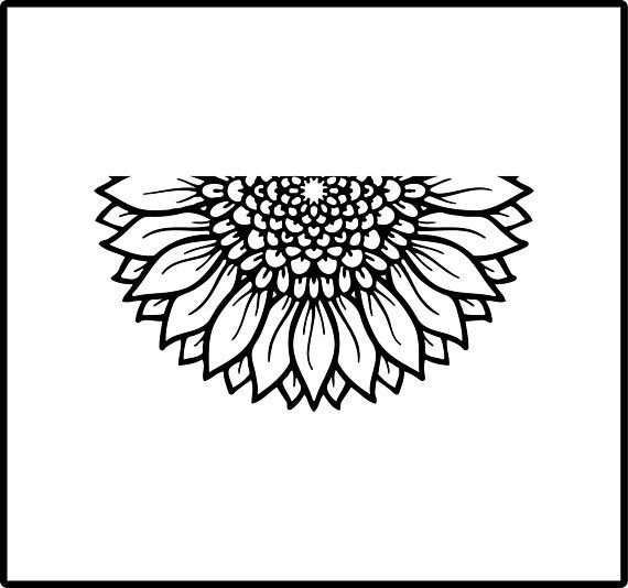 Half Mandala Car Decal Car Sticker Half Sunflower Garden ... (570 x 534 Pixel)