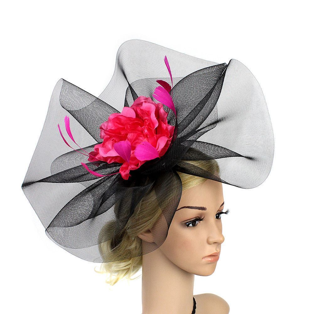 21f08c5b957 Women Large Net Feather Fascinator Headband Wedding Tea Party Derby Church  Hat