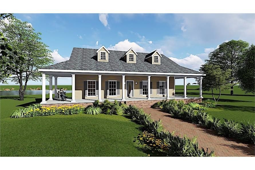 Ranch Home Plan 3 Bedrms 2 Baths 1717 Sq Ft 123 1097 Cottage House Plans Country House Plan Ranch House Plans