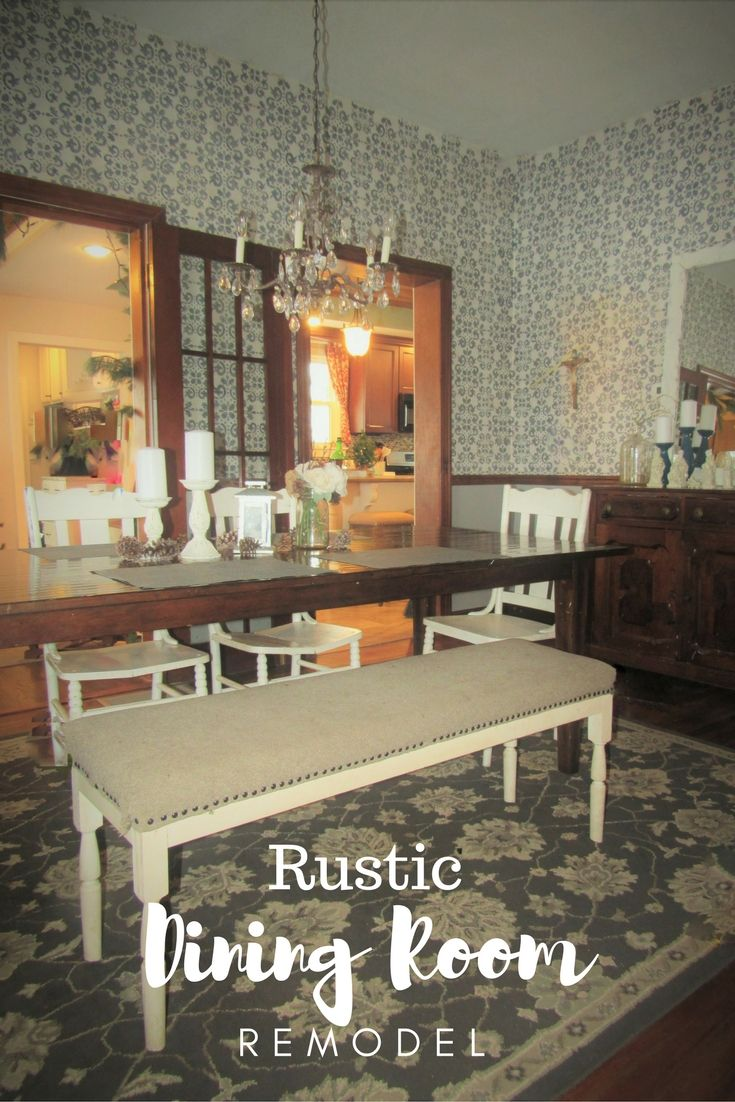 Before After Rustic Dining Room Remodel Mixed White And Wood Tones Damask Stenciled Walls Farmhouse Decor With Navy Wall Stencil Ideas