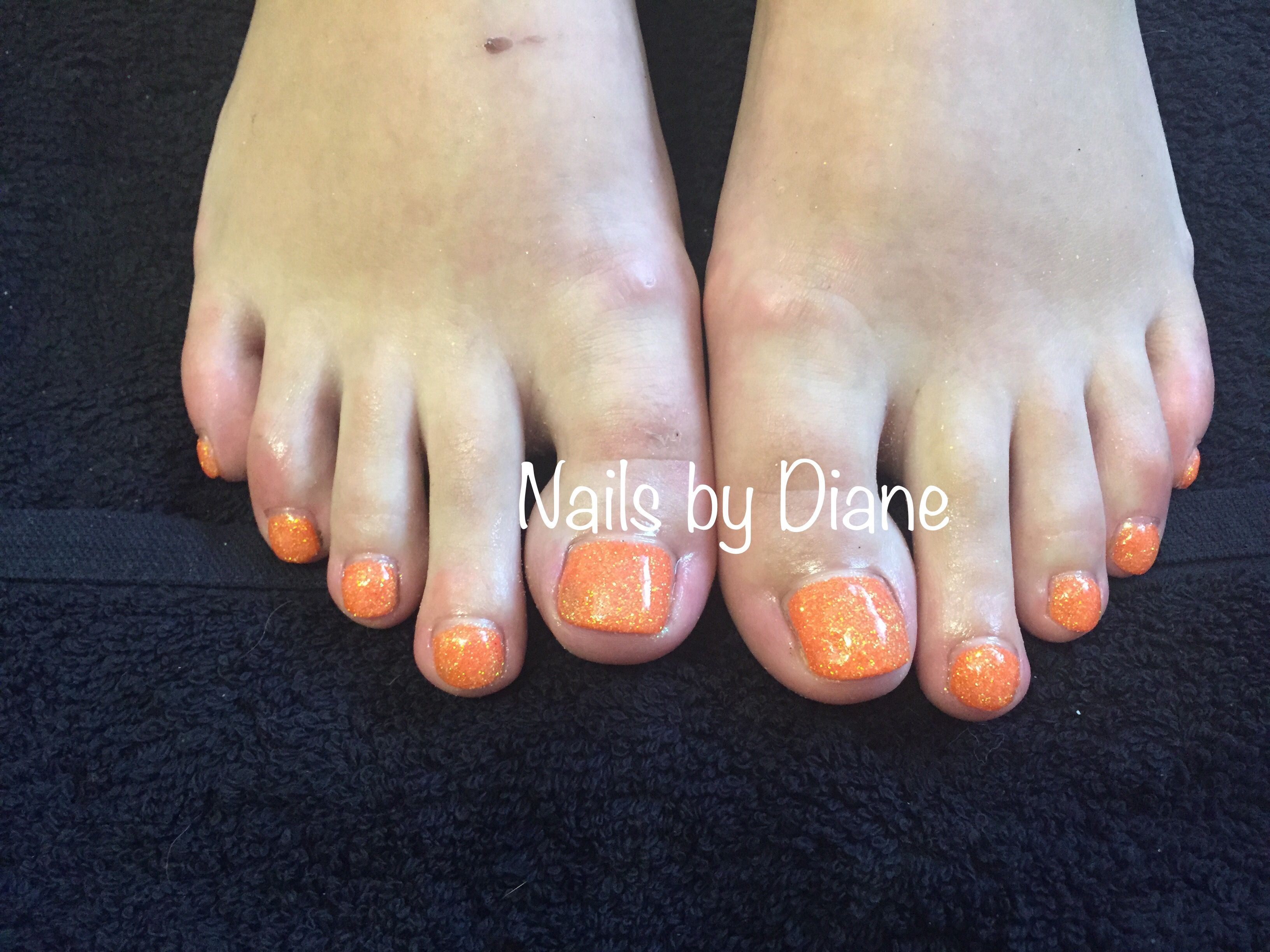 CND shellac toes with orange glitter. Done by me (Diane Taylor)