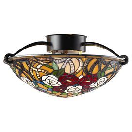 Semi-flush mount with a Tiffany-inspired glass shade.   Product: Semi-flush mountConstruction Material: Glass and metalColor: Chestnut bronze and multiAccommodates: (3) 100 Watt medium base bulbs - not includedDimensions: 9'' H x 16'' Diameter