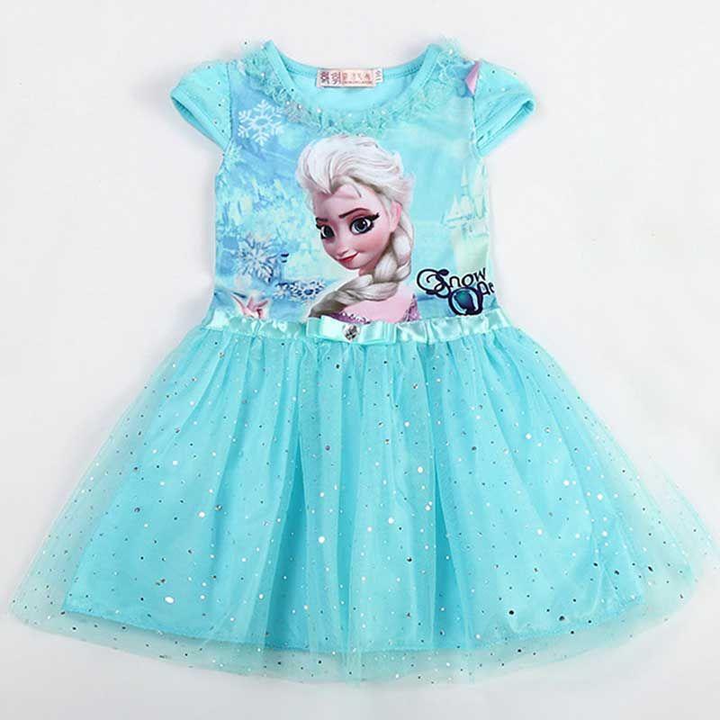8a0f5b9d3cad Lace Sequins Princess Anna Elsa Dress Snow Queen Costume