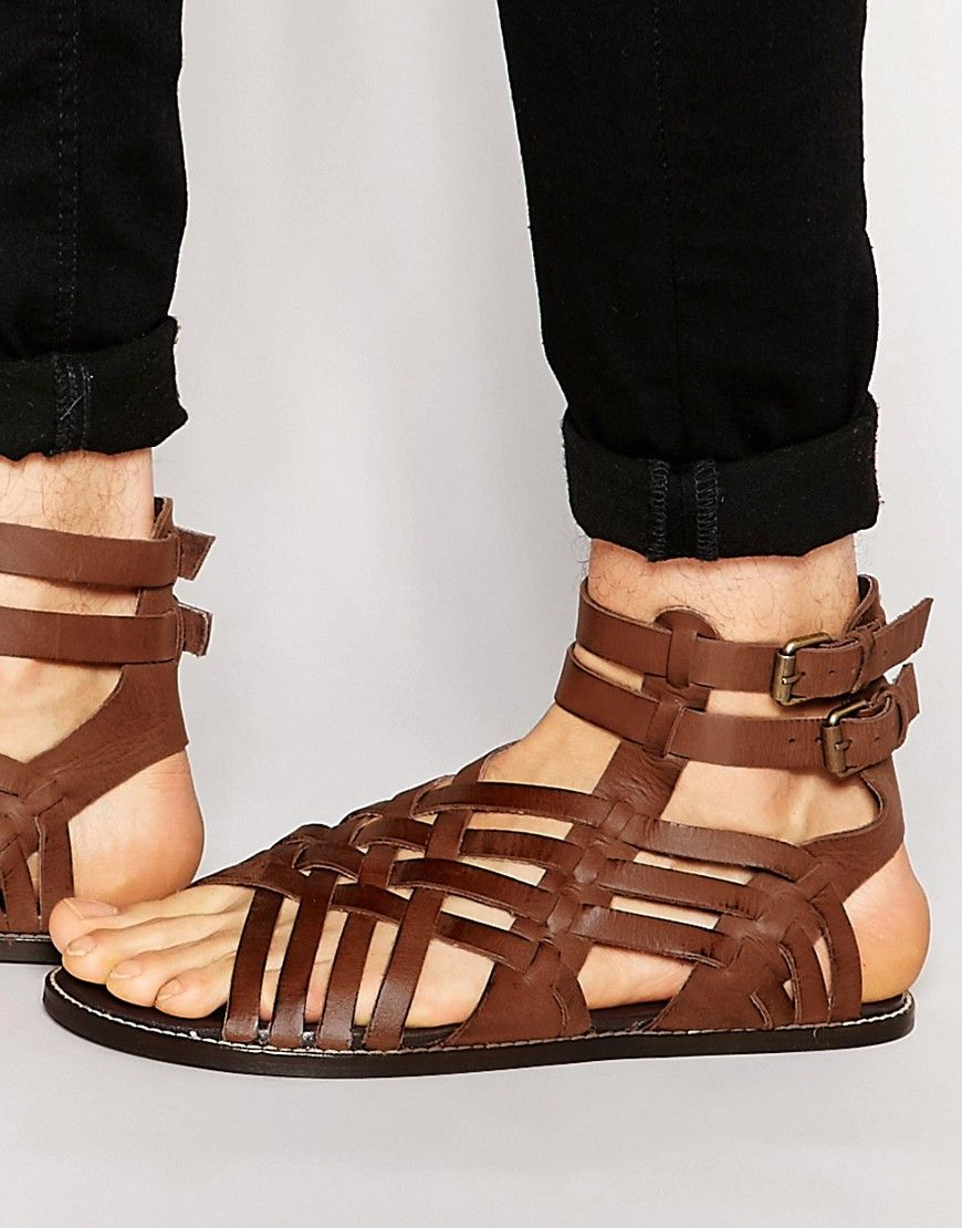 image 1 of asos gladiator sandals in brown leather mens
