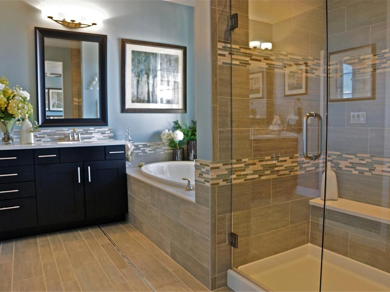 this spa-like bathroom has the feel of a luxury hotel, with a