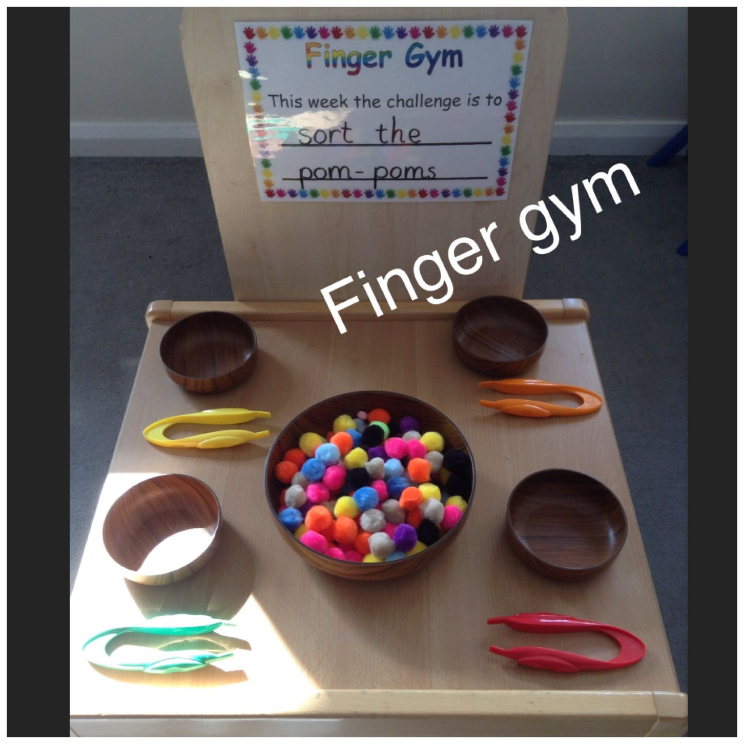 Finger Gym Developing Fine Motor Skills This Week The Children Will Use Tweezers To Sort And Fine Motor Skills Activities Motor Skills Activities Finger Gym
