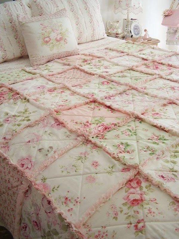 Shabby Chic Stil Design Schlafzimmer Rosen Motive