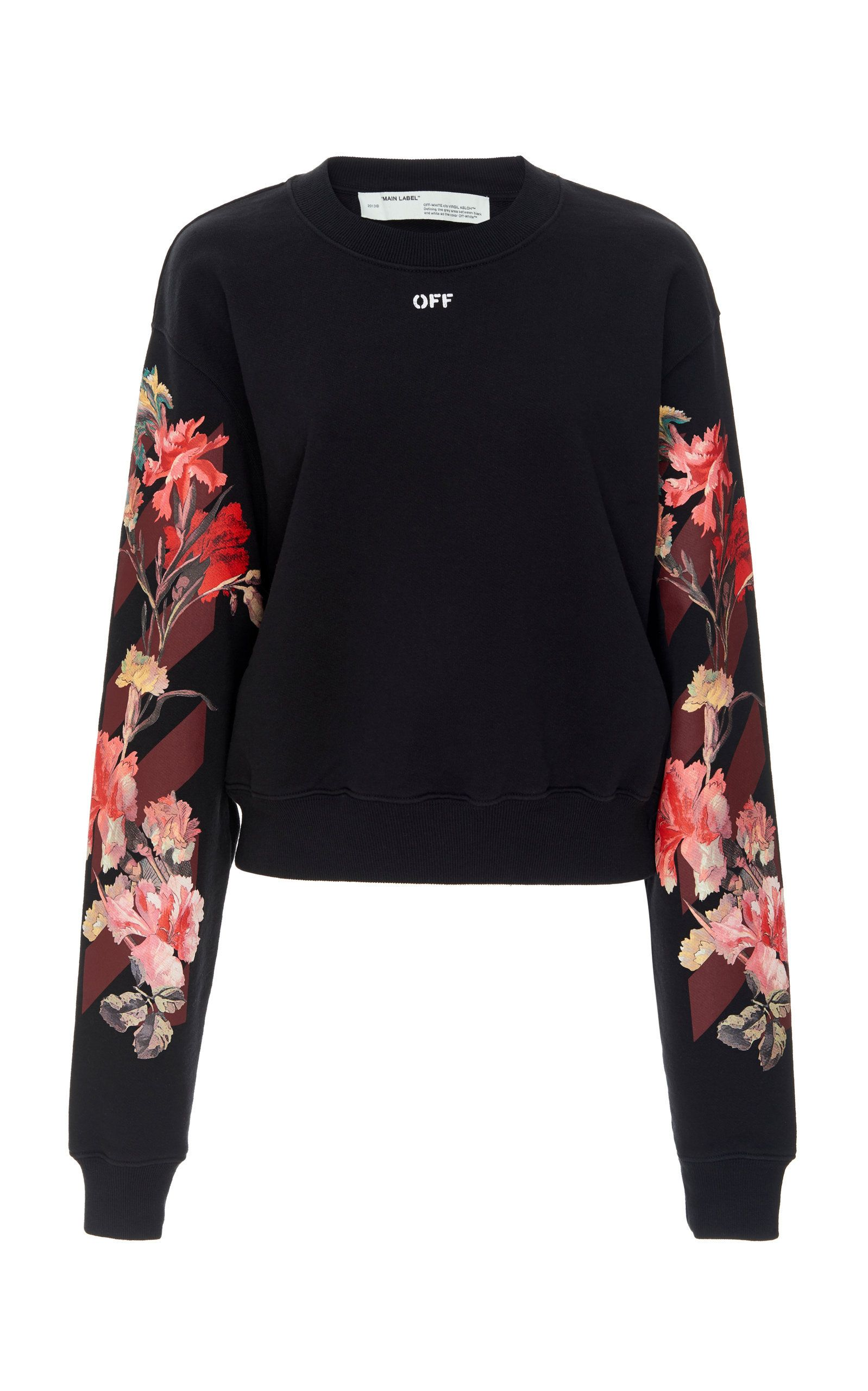 Flower Cotton Crop Crewneck By Off White C O Virgil Abloh For Preorder On Moda Operandi Off White Sweatshirt Crop Crewneck Sweatshirts [ 2560 x 1598 Pixel ]