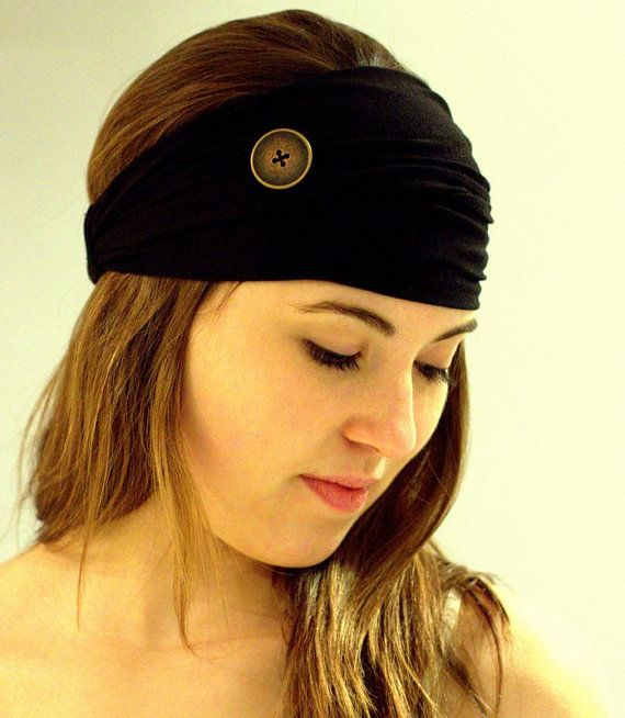 Black Head Wrap, Wide headband turban, Women's Head band, Hair Wrap, Headwrap with Elastic Back for Women in black with a brass big button.
