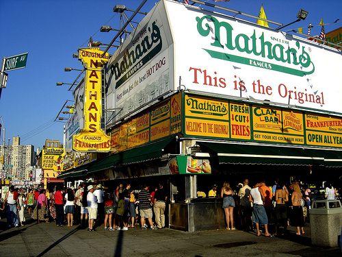 Nathan's Hot Dogs, Coney Island. | Coney island, Coney island hot dog, I  love nyc