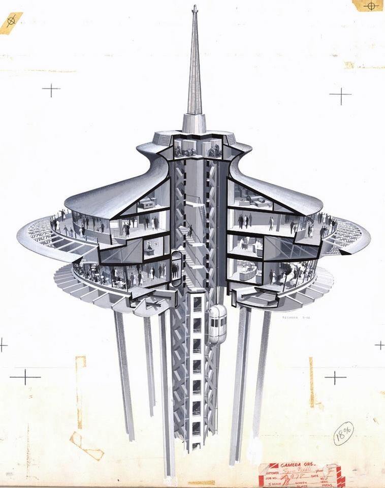 F featherbrain    Architectural renderings from the John Graham and Company  Architects in Seattle for the Space Needle  in 1962 World s Fair  Seattle space needle architectural cut away illustration  now you know  . Dinner Seattle Space Needle. Home Design Ideas