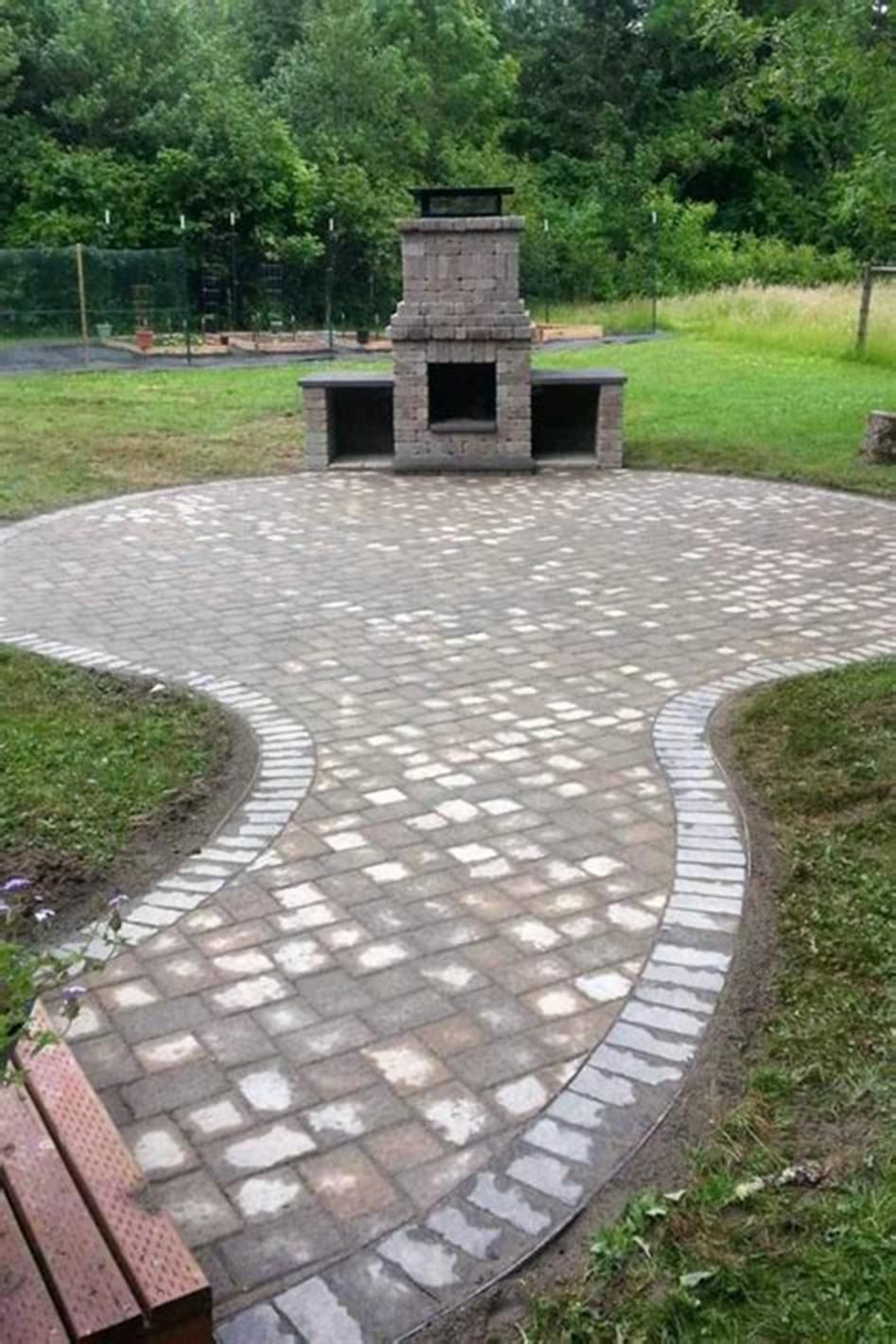 Amazing 45 Most Popular Backyard Paver Patio Design Ideas 2019 16 is part of Pavers backyard, Patio pavers design, Paver patio, Fire pit backyard, Concrete patio designs, Outside fire pits - Amazing 45 Most Popular Backyard Paver Patio Design Ideas 2019 16