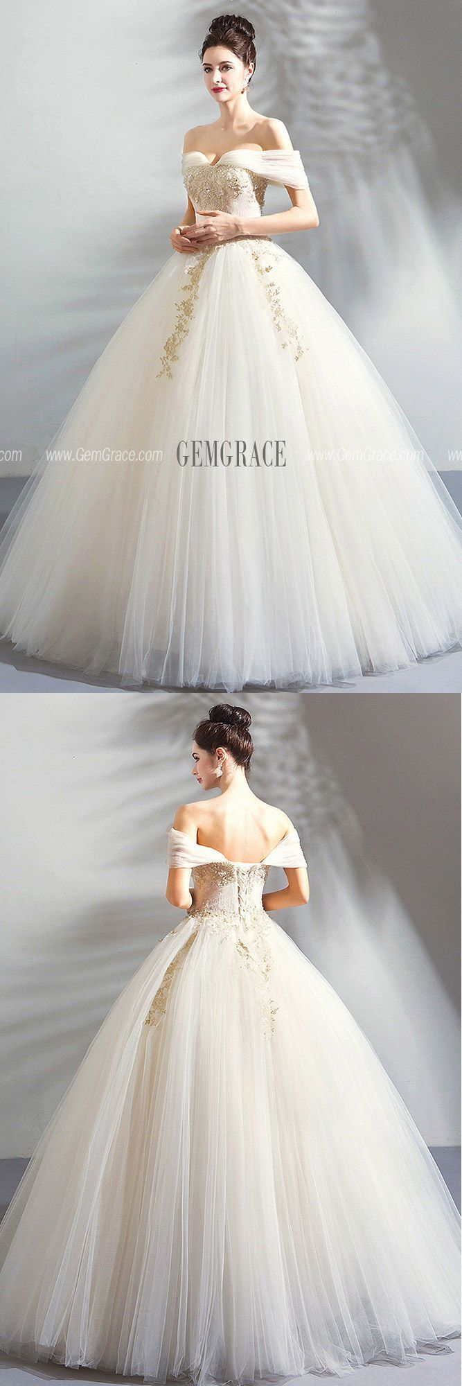 e0c6ebac9a7 Luxury Embroidery Beige Ball Gown Wedding Dress Princess With Off Shoulder  Wholesale  T69085 - GemGrace